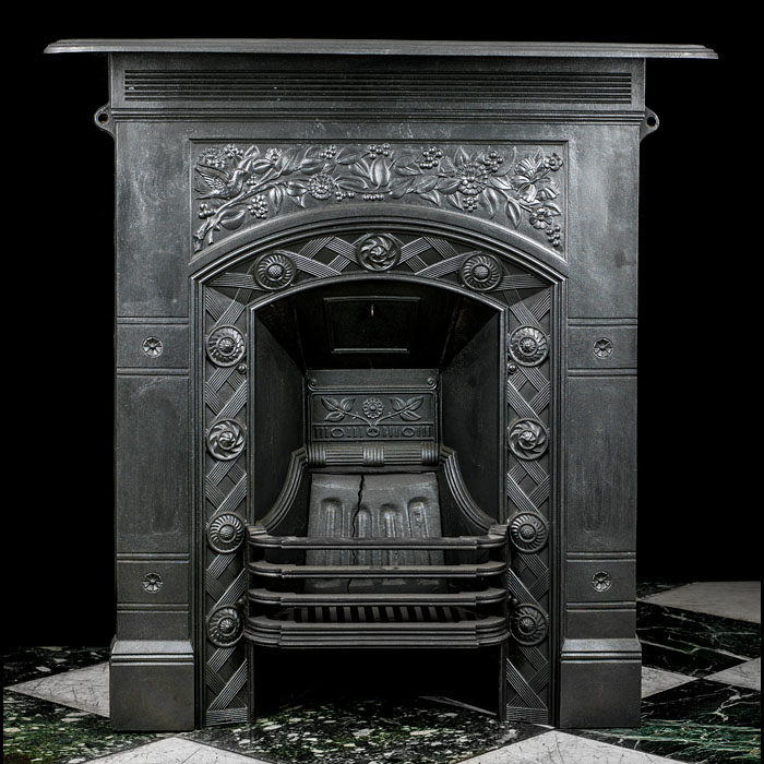 A Combination Cast Iron Victorian Fireplace