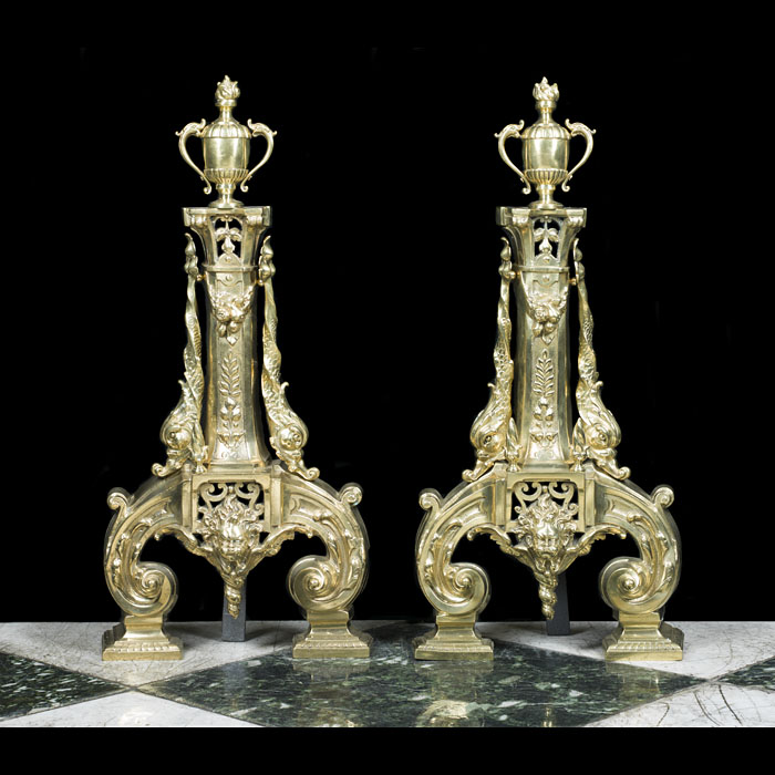 A tall pair of Baroque style firedogs