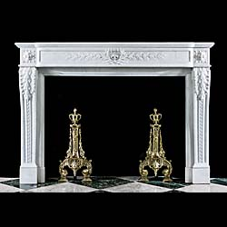 A Louis XVI Style Statuary Marble Fireplace