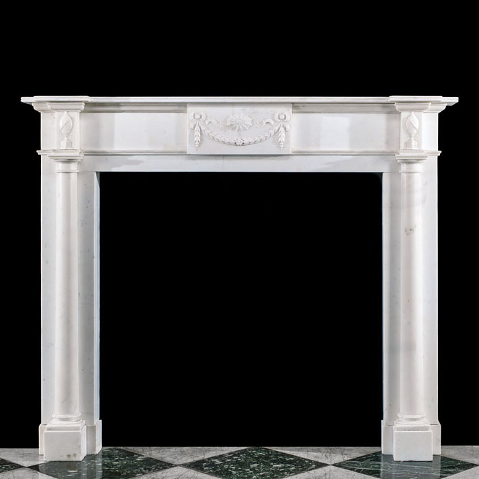 A large Statuary Marble Regency Fireplace