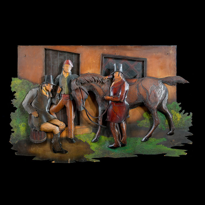 A large painted leather equestrian panel