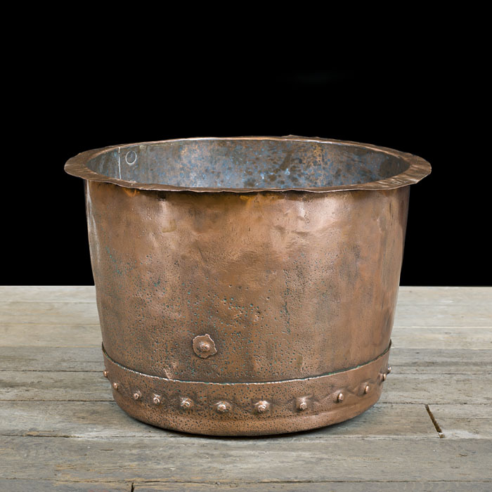 A burnished copper 19th century log bin