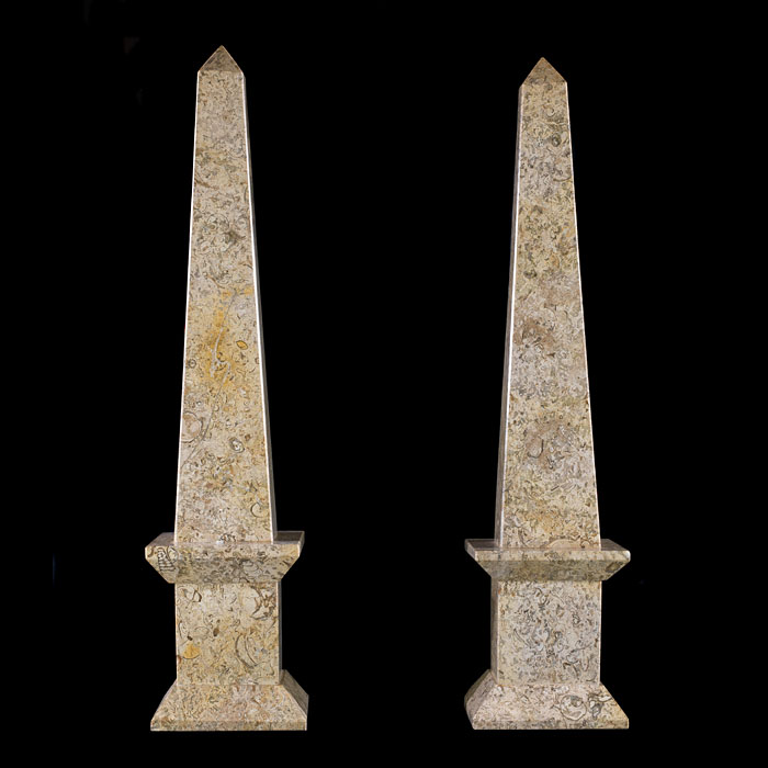 A pair of Purbeck Fossil Stone obelisks