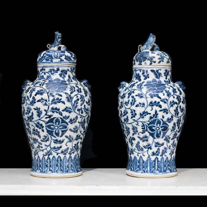 Chinese Qing Dynasty pair of baluster vases