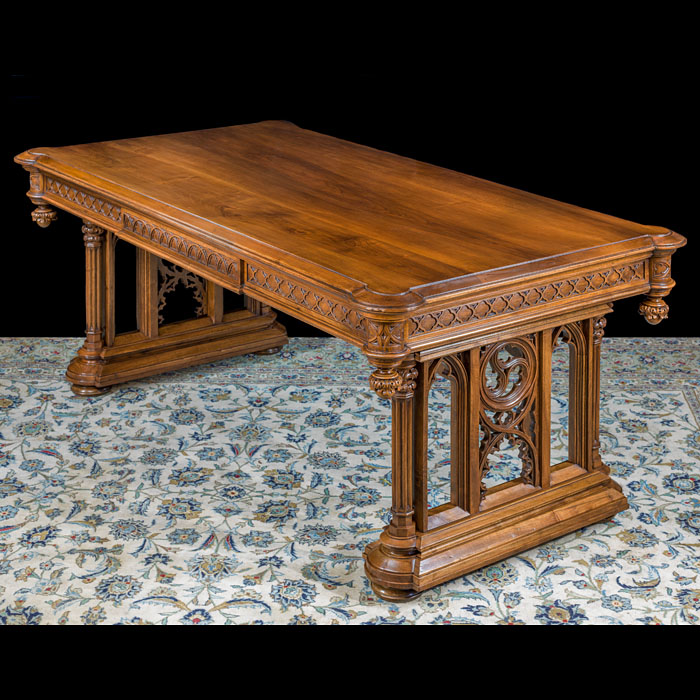 An Ornate Gothic Revival Walnut Table