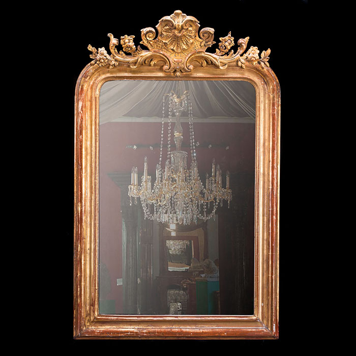 A giltwood Rococo style wall mirror