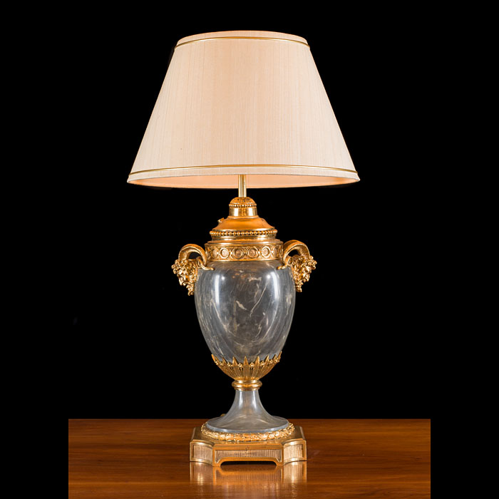 A French marble and ormolu table lamp