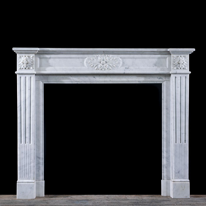 A Carrara Marble Louis XVI Chimneypiece