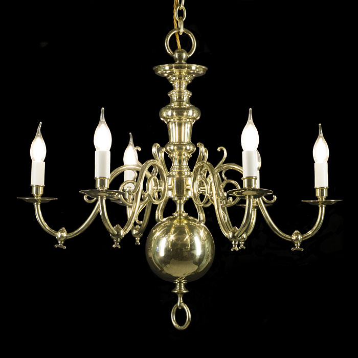 Dutch Style Polished Brass Chandelier