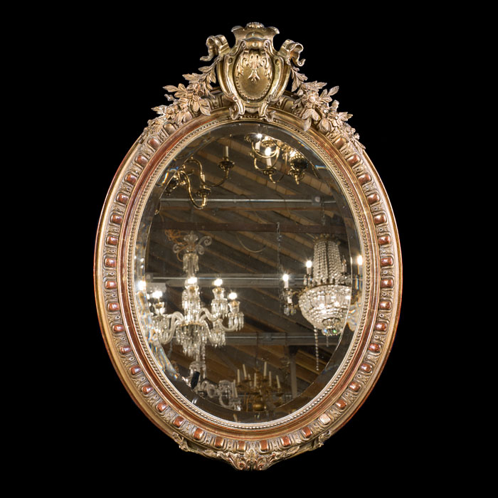 French Gilt Oval Wall Mirror