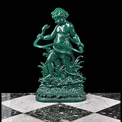 2961: AN ORIGINAL CAST IRON COALBROOKDALE UMBRELLA / STICK STAND,  cast as the infant Hercules, against a leafy background, wrestling with a snake which forms the body of the  holder with a removable drip t
