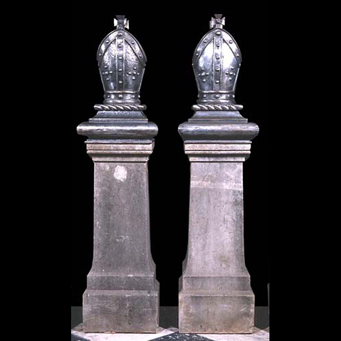 3695: A pair of burnished cast iron gate pier finials in the form of  bishop's mitres on integral cushioned, moulded plinths.19th century, circa 1860.The stone plinths are sold.  Link to: Antique fountains,