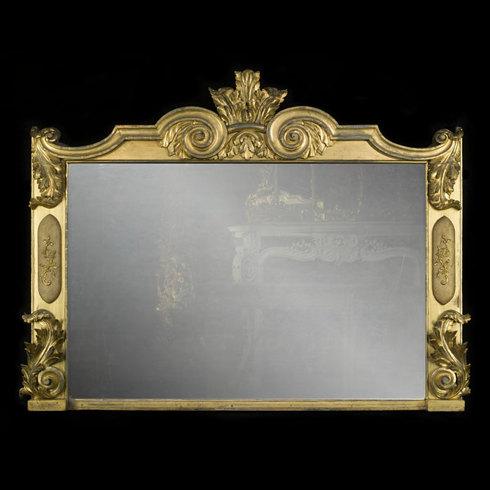 A large giltwood Regency overmantel mirror