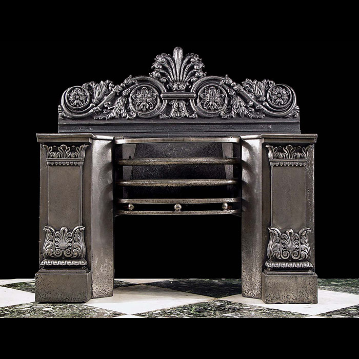 4009: A fine English Regency burnished Bullock hob grate in the Greek Revival manner.Early 19th century.