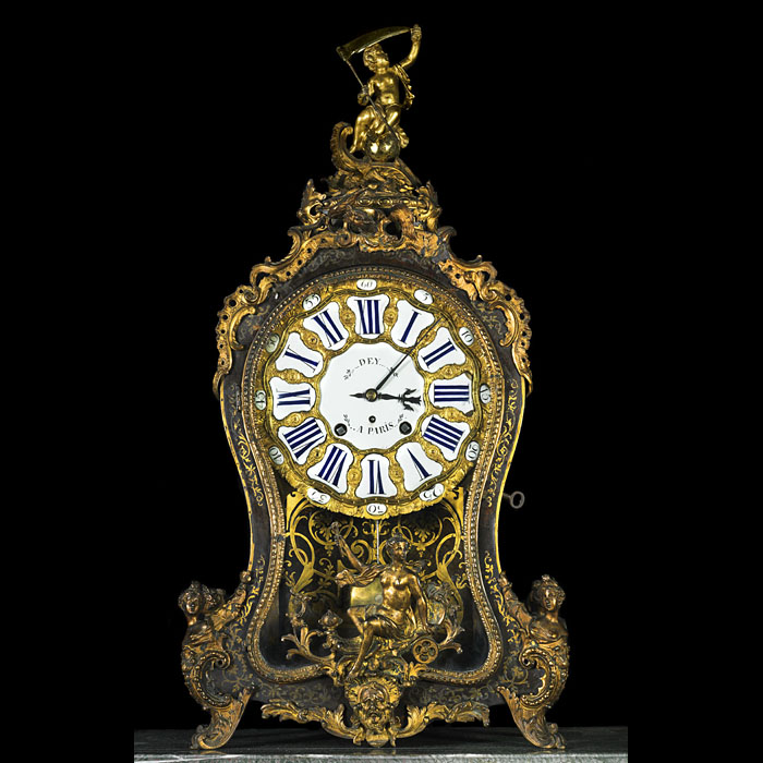 Louis XV Boulle gilt bronze cartel clock