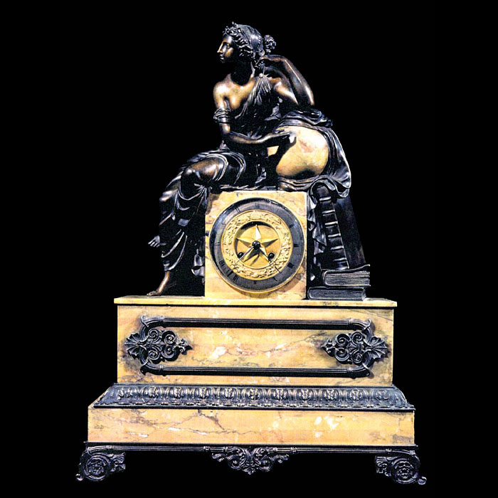 A French sienna marble and bronze antique mantel clock
