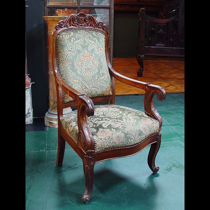 Antique mid 19th century Bergere Walnut Upholstered Chairs
