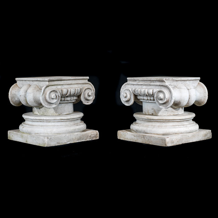 A small pair of Regency marble capitals