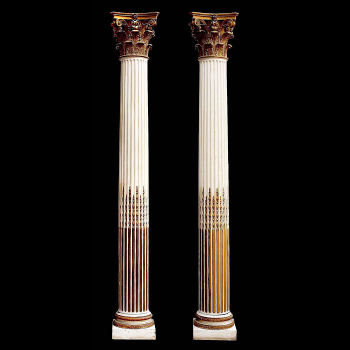 Antique pair of Corinthian wood columns