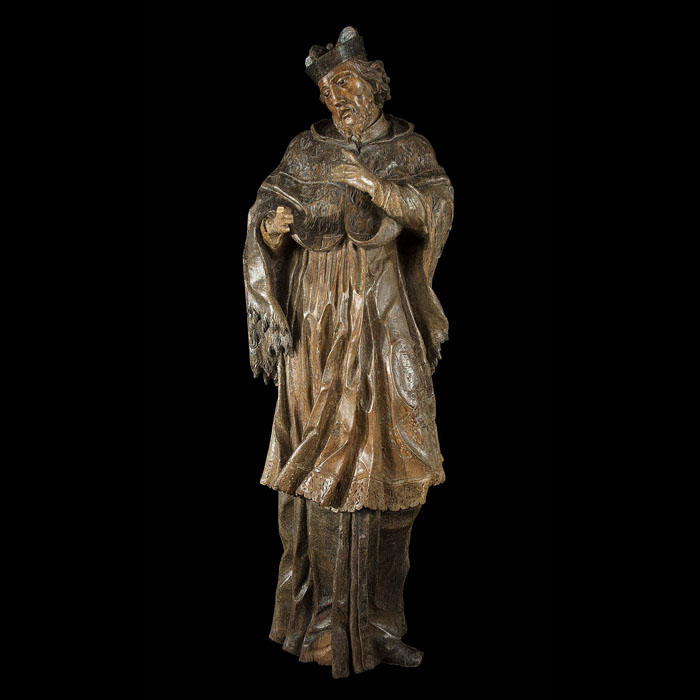 A finely carved wood statue of St John Nepomuk
