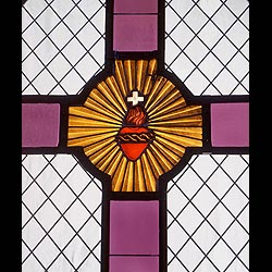 Antique Stained Glass Panel or Window with a central Cross