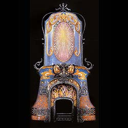 An enormous Gaudi style antique ceramic chimneypiece