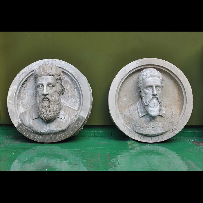 4351: A pair of rare stone roundels in the Renaissance manner, each with a carved head; one depicting Benvenuto Cellini (1500-1571), Florentine sculptor, goldsmith and amorist; the other depicts Giulio Roma