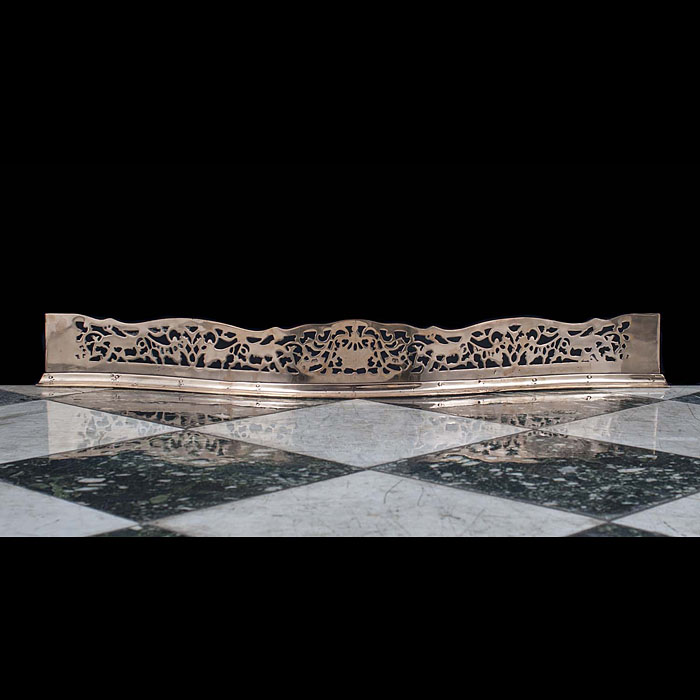 An Ornate Antique Bronze Fireplace Fender