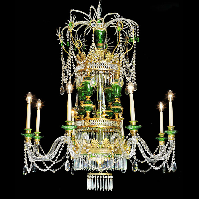 An eight branch 20th century Russian style crystal chandelier