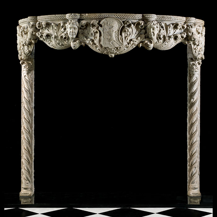 A rare 15th century Pietra d'Istria Marble Venetian Gothic Fireplace