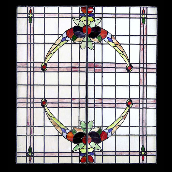 A 20th century stained glass screen panel