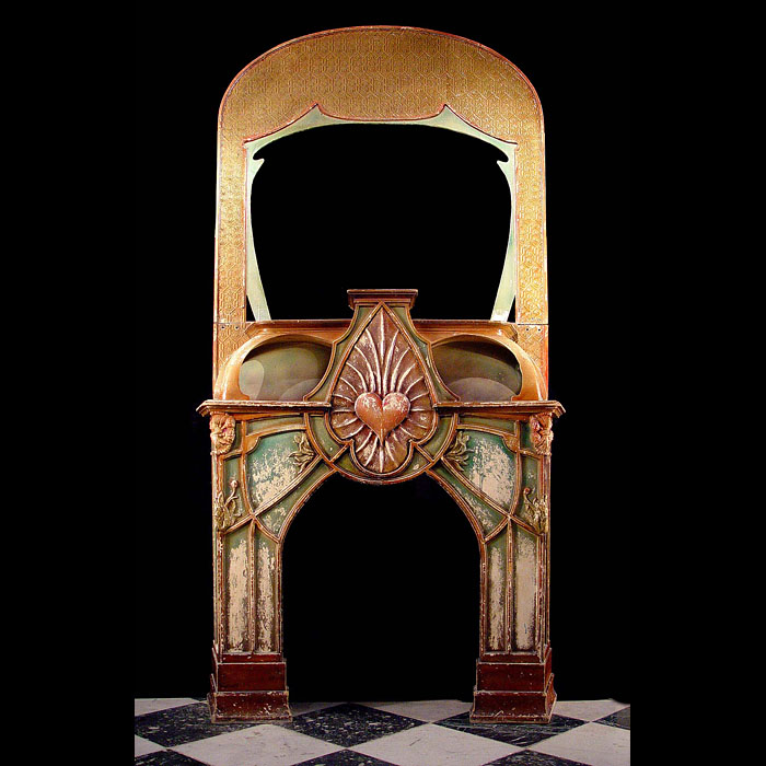 A Guimard style \art \nouveau fireplace surround