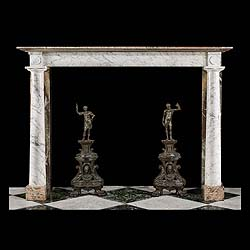 4879: An attractive Neoclassical antique fireplace mantel in Cararra Grigio Curva marble with Campan Melange marble returns, footblocks & shelf.  The rectangular shelf with a moulded edge above a plain frie