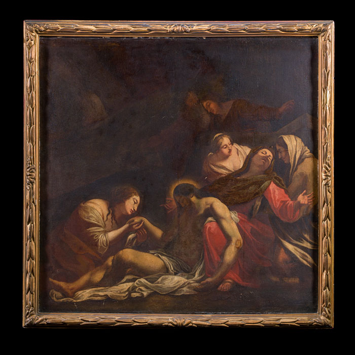 Antique Canvas Oil Painting depicting lamenting French figures