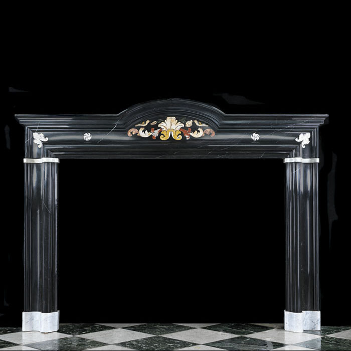 17th Century Italian Nero Marble Fireplace