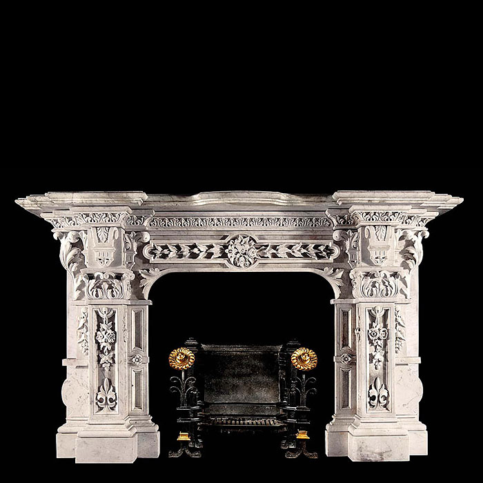 A fine antique Baroque carrara marble chimneypiece