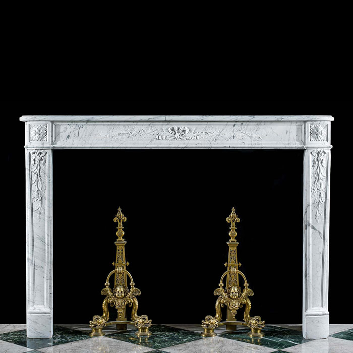 A Louis XVI Carrara Marble Fireplace Mantel