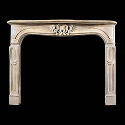 Antique Period Stone Louis XV Rococo Stone panelled Chimneypiece