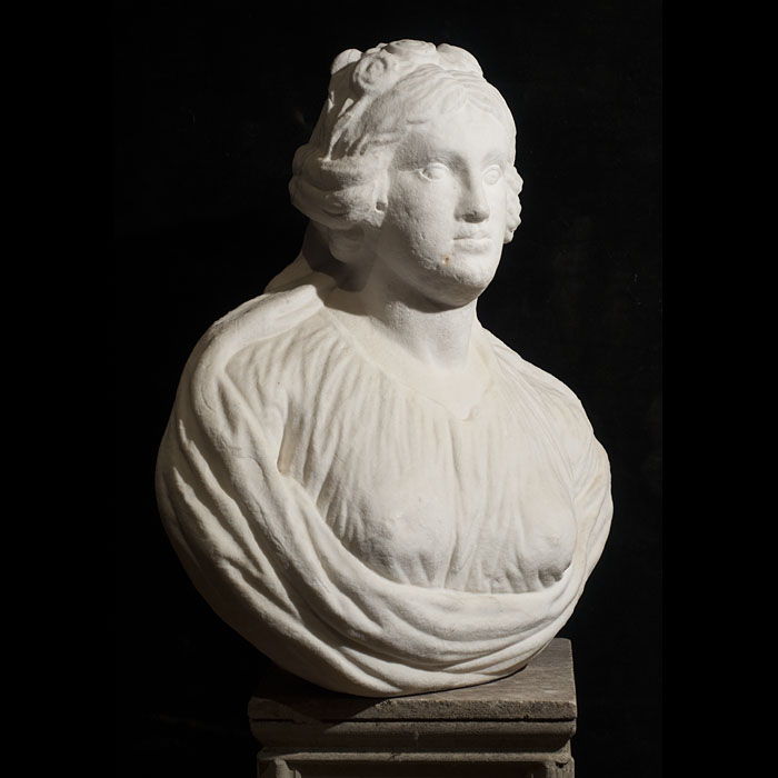 An Italian white marble bust of a gentlewoman