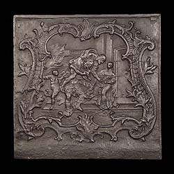 Antique fireback scene from trojan mythology