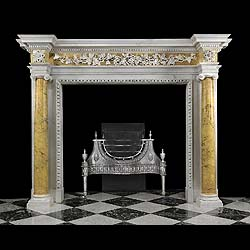 6510: A VERY TALL AND GRAND PERIOD GEORGIAN CHIMNEYPIECE, carved in white statuary and purple and black veined yellow Sienna marble in the Provincial style. Very much in the style of Robert Adam, the high b