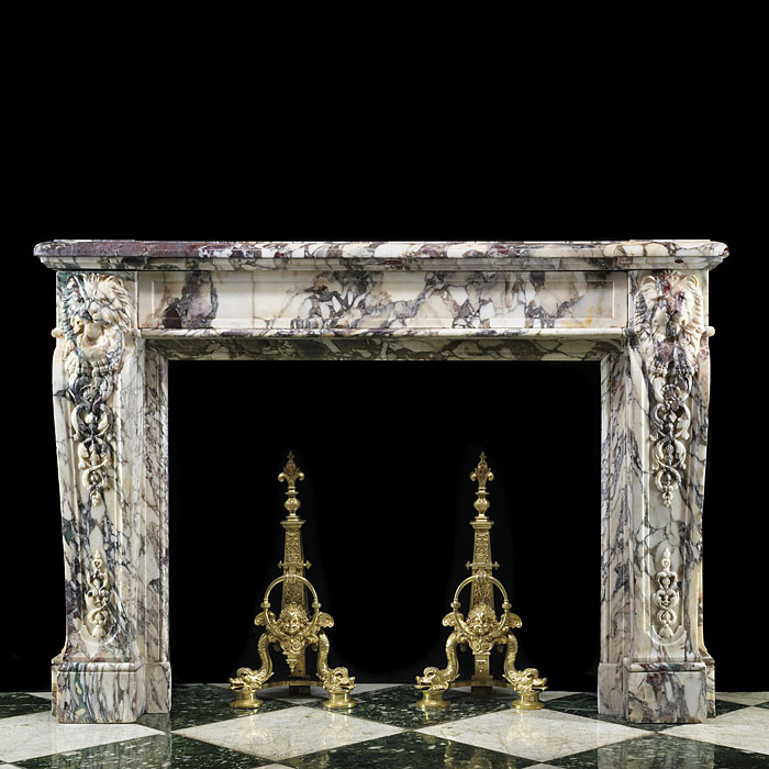 Antique large Louis XVI coloured carved Marble French chimneypiece