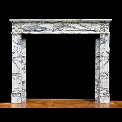 Antique French Louis XVI carved Pavonazza Marble Fireplace Mantel