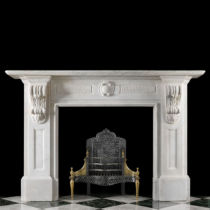 An Antique Victorian statuary marble antique Fireplace Mantel
