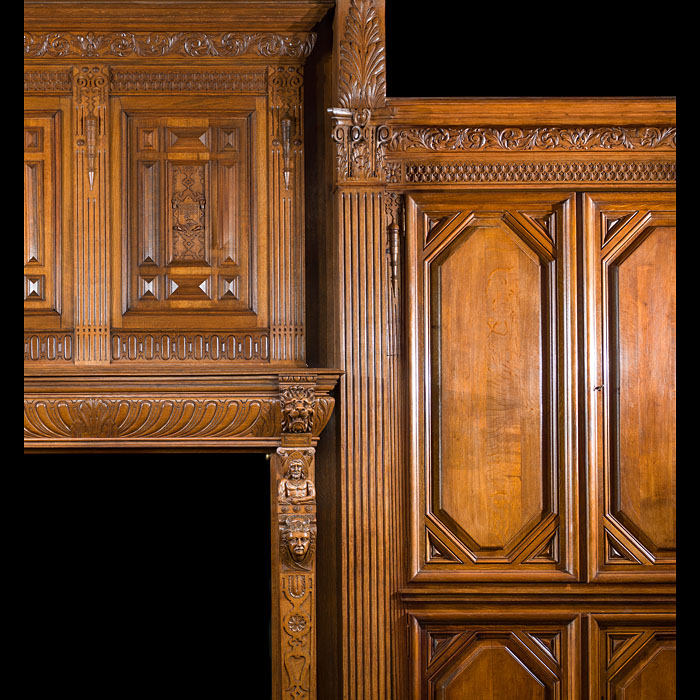 French Carved Oak Fireplace and Overmantel