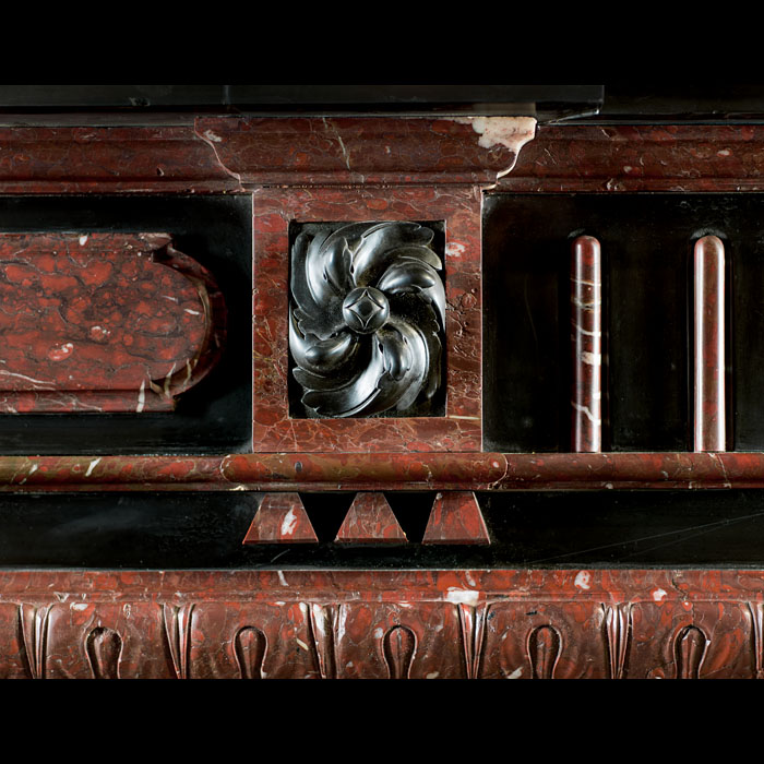 A Belgian Black and Red Griotte antique marble chimneypiece