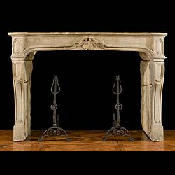 Antique French Louis XV Stone Rococo Fireplace Mantel