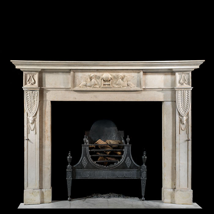 A rare Robert Adam stone chimneypiece