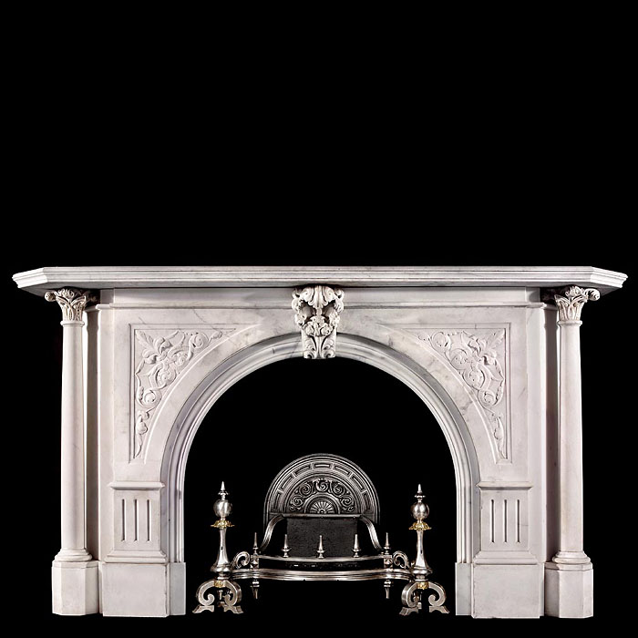 Carved arched antique Victorian marble fireplace