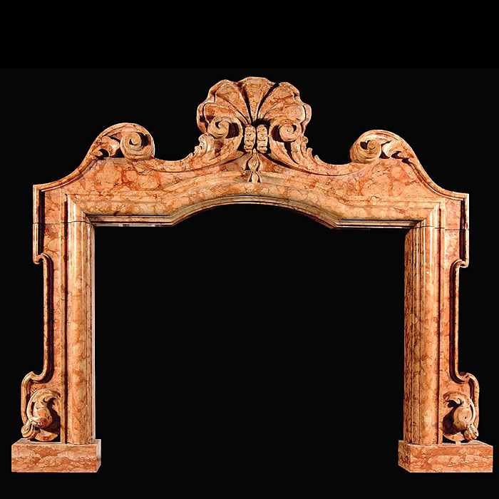 Baroque style Italian Nembro Marble fireplace surround